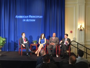 From left: APIA's Terry Schilling, Live Action's Lila Rose, TheTeaParty.net's Niger Innis, and Cato Institute's Alex Nowrasteh (photo credit: Jon Schweppe)