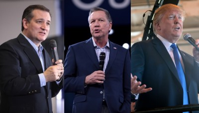 From left: Sen. Ted Cruz (R-TX), Ohio Gov. John Kasich, and Donald Trump
