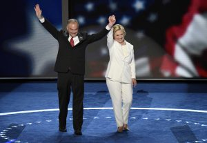 Sen. Tim Kaine (D-Va.) and former Secretary of State Hillary Clinton (photo credit: Disney | ABC Television Group via Flickr, CC BY-ND 2.0)