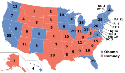 Electoral college map for the 2012 presidential election (photo via Wikimedia Commons)