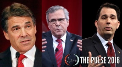 From left: Governors Rick Perry, Jeb Bush, and Scott Walker
