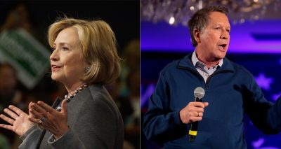 From left: former Secretary of State Hillary Clinton and Ohio Gov. John Kasich