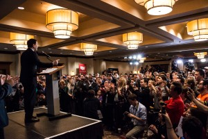 Sen. Marco Rubio (R-FL) addresses supporters on Iowa Caucus night (photo credit: iprimages via Flickr, CC BY-ND 2.0)