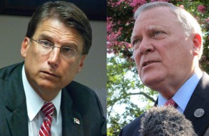 From left: North Carolina Gov. Pat McCrory and Georgia Gov. Nathan Deal (photos via Flickr: Hal Goodtree/Public Information Office)