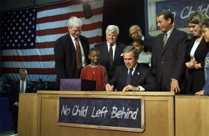 President George W. Bush signs into law the No Child Left Behind Act in 2002 (public domain image)
