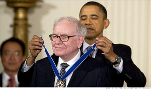 President Obama honors Warren Buffett with the Medal of Freedom in 2011.