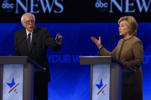 From left: Sen. Bernie Sanders (I-VT) and former Secretary of State Hillary Clinton face off during an ABC News Democratic presidential debate on Dec. 19, 2015 (photo credit: Disney | ABC Television Group via Flickr)