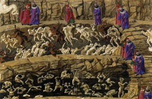 Illustration by Sandro Botticelli: Dante and Virgil visit the eighth circle of Hell