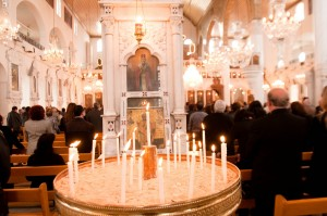 Orthodox Christians worship at a church in Damascus (photo credit: michael_swan via Flickr, CC BY-ND 2.0)