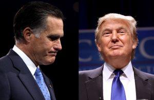 From left: former Massachusetts Gov. Mitt Romney and Donald Trump