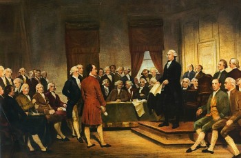 Washington at Constitutional Convention of 1787, signing of U.S. Constitution, by Junius Brutus Stearns, 1856.